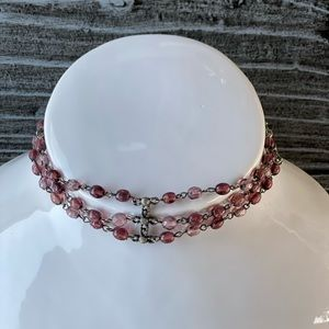 Cross & Pink Stones Wide Chocker Necklace